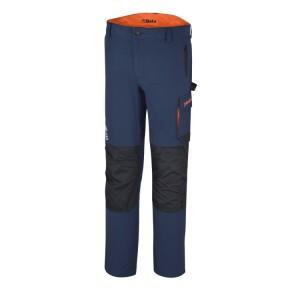 Pantalon de travail Bleu stretch, léger, multipoches, 86% nylon - 14% élasthanne, 140 g / m2, Poches pour genouillères, poches arrière renforcées en polyester 300D, Rempiècement à l'entrejambe. Coupe ajustée