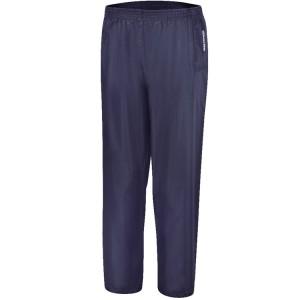 Pantalon imperméable en polyester enduit PVC avec coutures étanches, bleu Doté d'élastique à la taille et bas de jambe réglable avec boutons pression