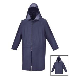 Manteau imperméable en polyester enduit PVC avec capuche fixe et coutures étanches, bleu Doté de boutons pression qui permettent de le raccourcir à 3/4