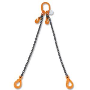 Élingue chaîne à 2 brins, avec crochet Self-Locking et raccourcisseurs, grade 8