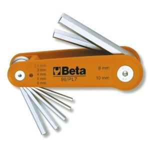 Jeu de clés mâles 6 pans coudées, chromées, avec support plastique