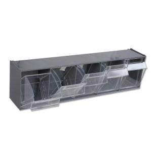 5 bacs de rangement en matière plastique,  avec support
