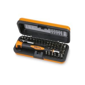 Bimateriál-műszerész csavarhúzó 36 cserélhető 4 mm-es bit-tel és mágneses hosszabbítóval