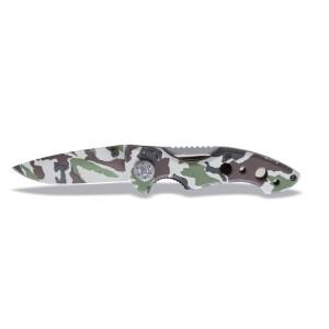 Behajtható pengéjű kés, terepszínű hőkezelt acél penge tokban
