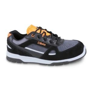 Perforált hasítottbőr és mikroszálas cipő mérsékelten vízálló, karbon betétekkel