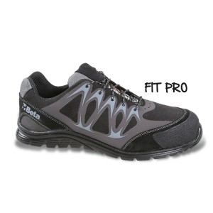 Mikro hasítottbőr cipő, mérsékelten vízálló, nagyfrekvenciás PU betétekkel és védő erősítéssel a hasítottbőr orrnál.