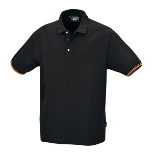 Három gombos pólóing, 100% pamut, 200 g/m2, fekete