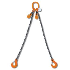 Rögzítő emelőheveder közelítő horgokkal 2 karos lánc, táskában