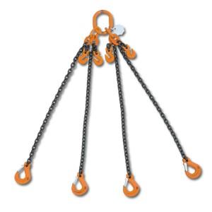 Rögzítő emelőheveder közelítő horgokkal 4 karos lánc, táskában