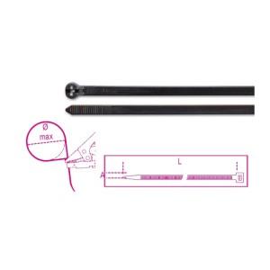 Acélfogas műanyag kábelkötegelő szalag, fekete, UV-álló