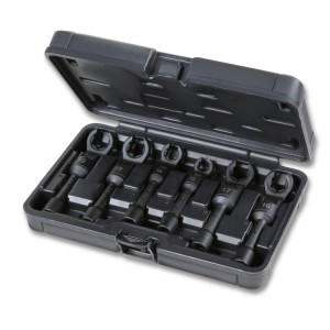 6-delig set set van open zeskant dopsleutels met kniegewricht voor brandstofleiding moeren.