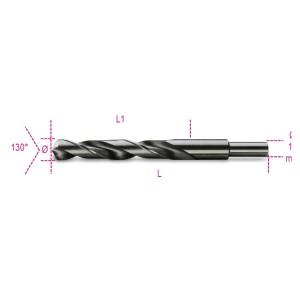 Spiraalboren, korte uitvoering,  schacht gereduceerd tot 13 mm HSS  volledig geslepen gebruneerd