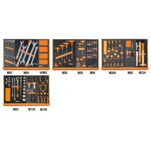 Assortiment van 170 gereedschappen voor autoherstel in voorgevormde EVA foam inlegbakken