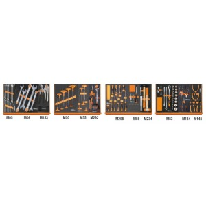 Assortiment van 130 gereedschappen in zachte foam inlegbakken