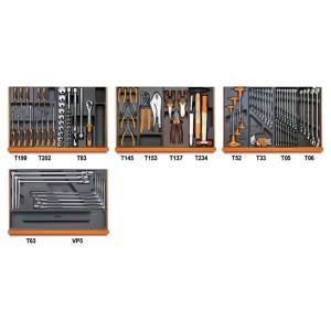 Assortiment van 102 gereedschappen voor autoherstel in voorgevormde ABS inlegbakken