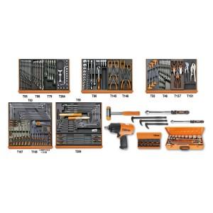 Assortiment van 202 gereedschappen voor autoherstel in voorgevormde ABS inlegbakken