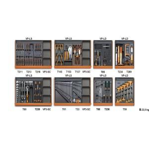 Assortiment van 210 gereedschappen voor universeel gebruik in voorgevormde ABS inlegbakken