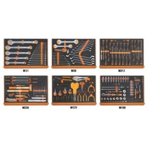 Assortiment van 214 gereedschappen voor universeel gebruik in voorgevormde EVA foam inlegbakken