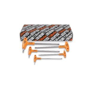 5-delig set haakse stifsleutels met handgreep, vervaardigd uit roestvast staal