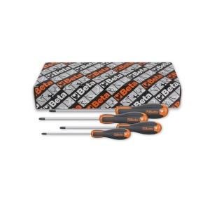 4-delig set Evox schroevendraaiers voor Pozidriv®-Supadriv® kruiskop schroeven, verchroomd, tips gebruneerd