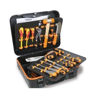 Verrijdbare gereedschapskoffer met gereedschappen voor elektrisch en elektronica onderhoud