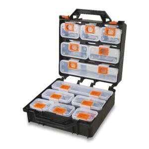 Koffer met 12 uitneembare assortiments doosjes