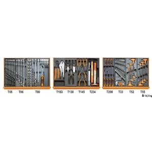 Assortiment van 99 gereedschappen voor autoherstel in voorgevormde ABS inlegbakken