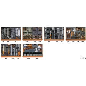Assortiment van 142 gereedschappen voor industrieel onderhoud in voorgevormde ABS inlegbakken