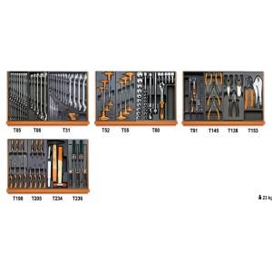 Assortiment van 146 gereedschappen voor universeel gebruik in voorgevormde ABS inlegbakken