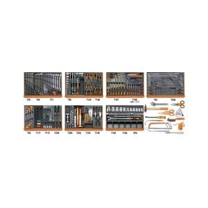 Assortiment van 212 gereedschappen voor autoherstel in voorgevormde ABS inlegbakken