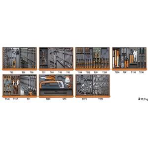 Assortiment van 232 gereedschappen voor industrieel onderhoud in voorgevormde ABS inlegbakken