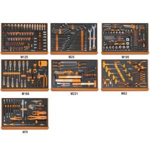 Assortiment van 333 gereedschappen voor autoherstel in voorgevormde EVA foam inlegbakken