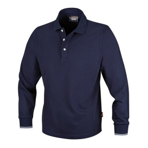 Drieknoops polo shirt, lange mouwen, 100% katoen, 200 g/m2, blauw
