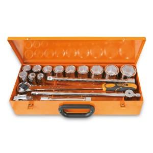 12 zeskant dopsleutels en 5 toebehoren in plaatstalen kist