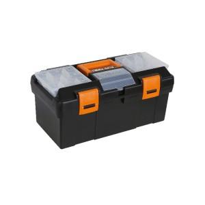 Gereedschapskoffer, vervaardigd uit kunststof, uitneembare inlegbak en sorteerbakjes, leeg